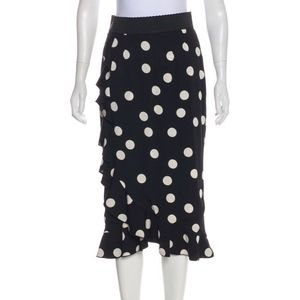 NWOT Dolce Gabbana Midi Polka Dot silk Skirt IT 40
